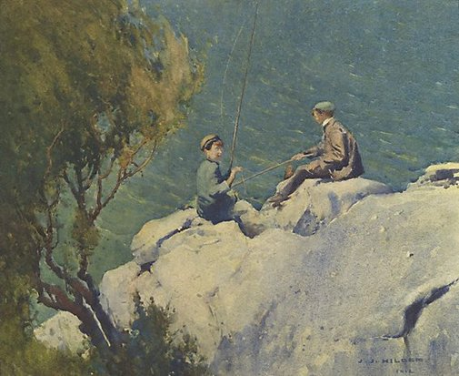 An image of Boys fishing or The compleat anglers by J J Hilder