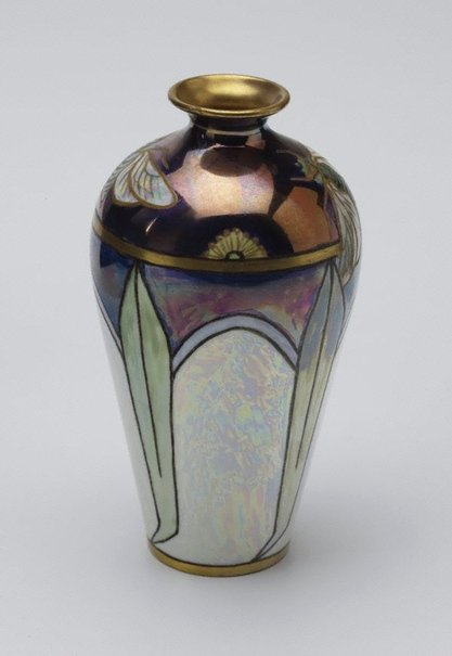An image of Vase with cicada and eucalyptus leaf design by Edith Bell-Brown