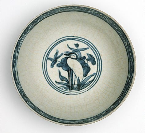 An image of Bowl with design of ducks and lotus by Export ware (South East Asia market)