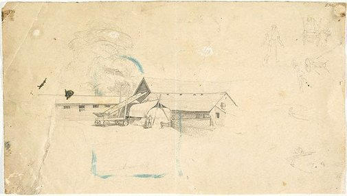 An image of (Farm building with cart and hay stack) (London genre) by William Dobell