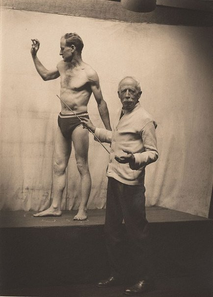 An image of Julian Ashton with life model by Harold Cazneaux